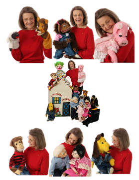 Ginger with puppets